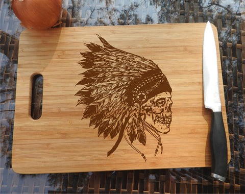 ikb292 Personalized Cutting Board Wood Indian Skull Chief restaurant kitchen