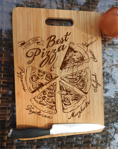 ikb2 Personalized Cutting Board Wood different pieces pizza Italian food kitchen pizzeria