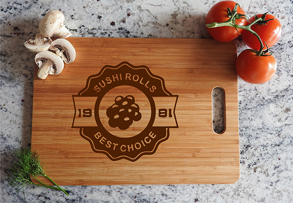 ikb415 Personalized Cutting Board Wood Sushi Asian food Japanese restaurant  cuisine