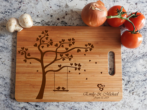 ikb497 Personalized Cutting Board Wood wooden wedding gift anniversary date tree bird names