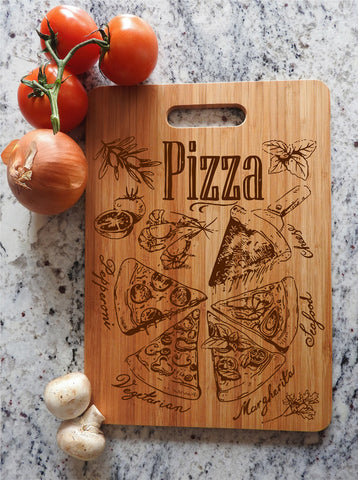 ikb4 Personalized Cutting Board Wood different pieces pizza Italian food kitchen pizzeria