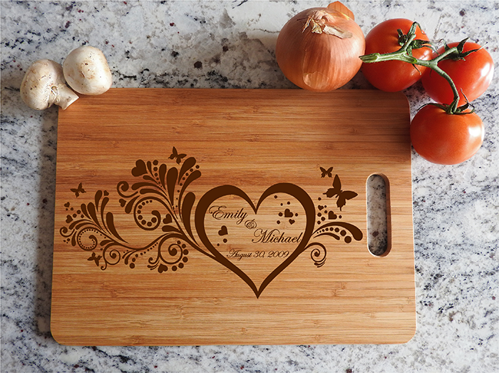 Ikb513 Personalized Cutting Board Wood Wood Wedding Anniversary Gift H Stickersforlife