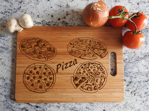 ikb5 Personalized Cutting Board Wood different pizza Italian food kitchen pizzeria