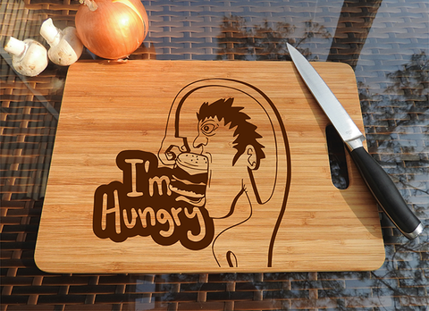 ikb605 Personalized Cutting Board funny hungry man food gift