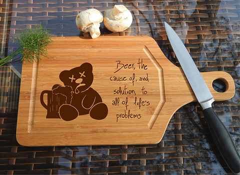ikb607 Personalized Cutting Board inscription beer kitchen gift
