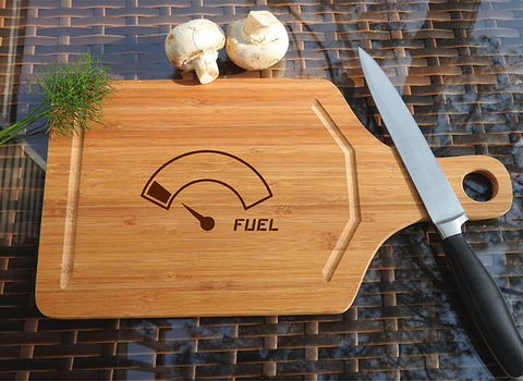 ikb608 Personalized Cutting Board energy fuel gauge gasoline kitchen gift