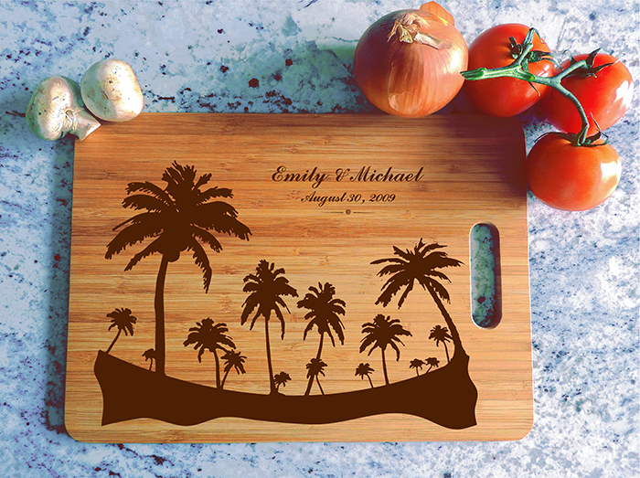 ikb625 Personalized Cutting Board hawaii island honeymoon wedding anniversary gift