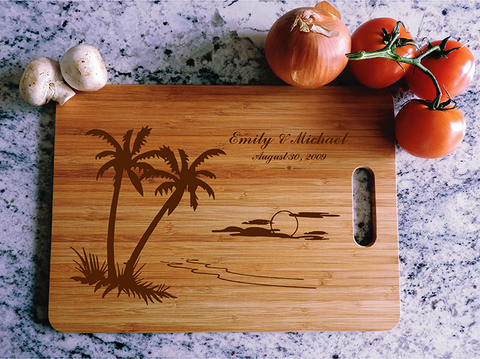 ikb626 Personalized Cutting Board hawaii island honeymoon wedding anniversary gift
