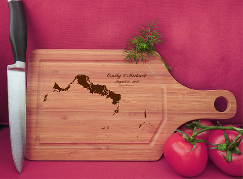 ikb630 Personalized Cutting Board turks and caicosislands honeymoon wedding anniversary