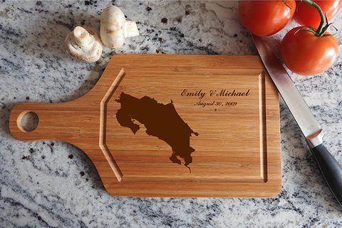 ikb631 Personalized Cutting Board Costa Rica honeymoon island wedding anniversary gift