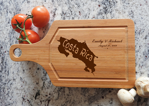 ikb632 Personalized Cutting Board Costa Rica honeymoon island wedding anniversary gift