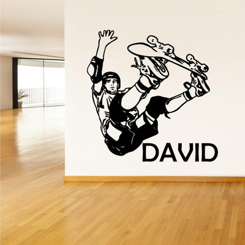 Wall Vinyl Decal Sticker Decal Custom Name Skater Skateboard Words Nursery Kids  z1113