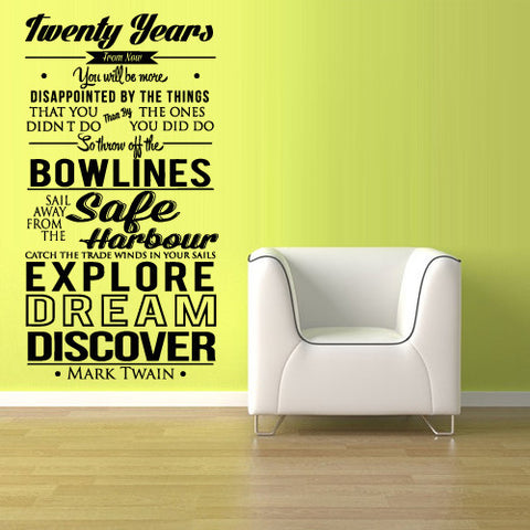 Wall Vinyl Decal Sticker Words Sign Quote Mark Twain Discover Dream  z1138