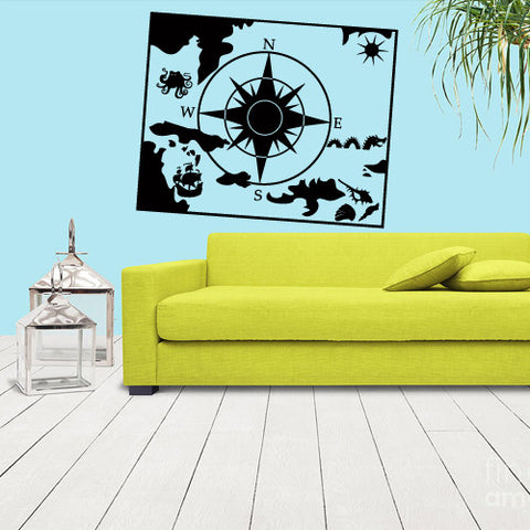Wall Vinyl Decal Sticker Map Compass Squid Colmar Ship  z1149