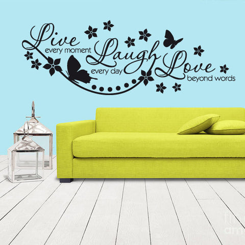 Wall Vinyl Decal Sticker Words Sign Quote Lettering Live Every Moment  z1169