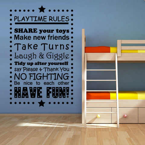 Wall Vinyl Decal Sticker Words Sign Quote Playtime Rules Kids  z1207