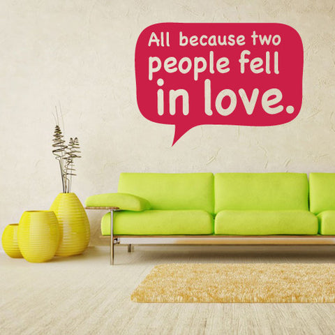 Wall Vinyl Decal Sticker Words Sign Quote People Fell Love  z1211