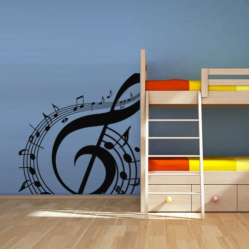 Wall Decal Vinyl Decal Sticker Decals Note Notes Wave Music  z1267