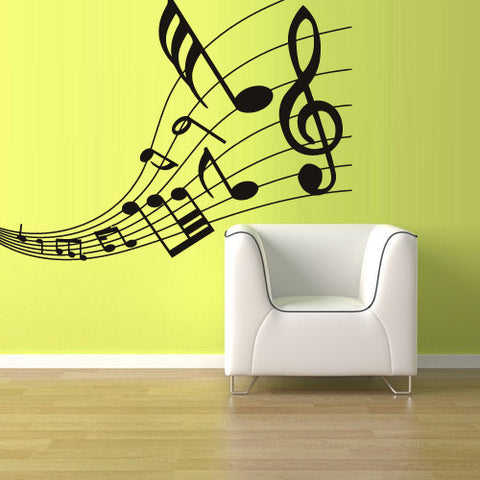 Wall Decal Vinyl Decal Sticker Decals Note Notes Wave Music Nice  z1275