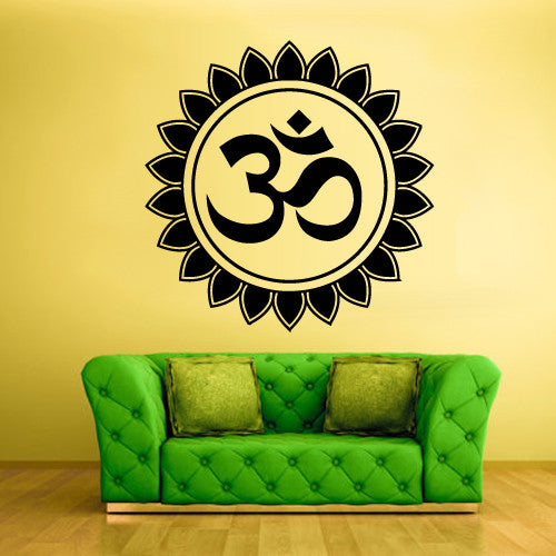 Wall Decal Vinyl Decal Sticker Hindu Om Circle Yoga Symbol Buddha Indian  z1368