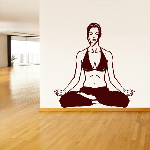 Wall Decal Vinyl Decal Sticker Decals Flower Yoga Lotos Om Yoga Girl Relax  z1447