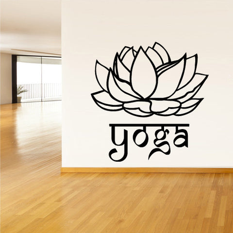 Wall Decal Vinyl Decal Sticker Decals Yoga Flower Lotos Lettering Quote Sign  z1450