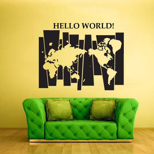 Wall Vinyl Decal Sticker Decals Decor World Map Time Hello World Words Decal  z1470