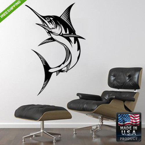 Wall Vinyl Decal Decal Sticker Beautiful Marlin Fish Animals Bedroom  z147
