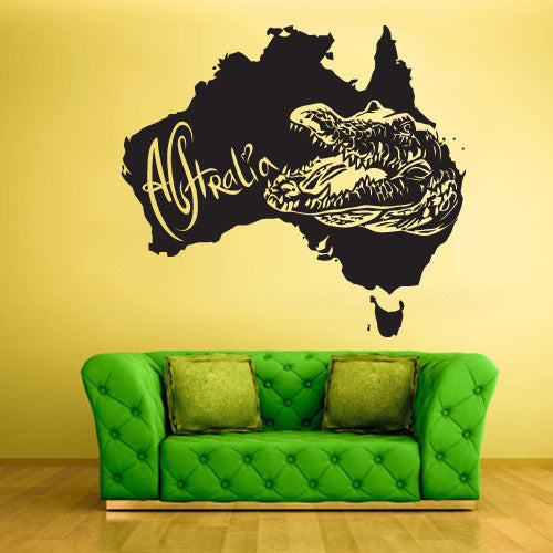 Wall Vinyl Decal Sticker Decals Decor Alligator Crocodile Map Croc Thailand  z1539