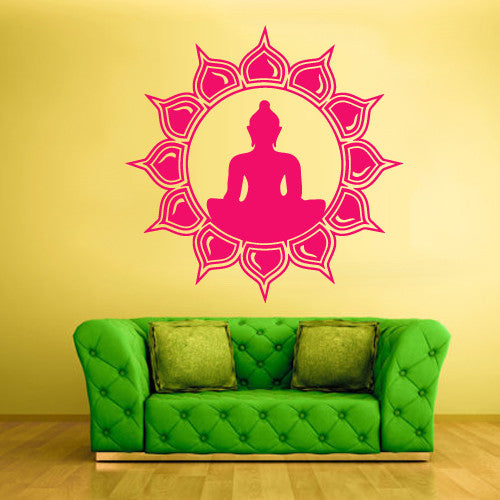 Wall Decal Vinyl Decal Sticker Decals Yoga Symbol Flower Lotos Indian  z1549