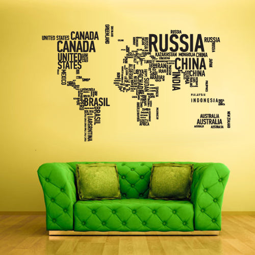 Wall Vinyl Decal Sticker Bedroom Decal World Map Country Words Quotes  z1712