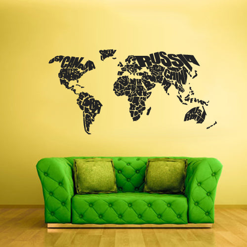 Wall Vinyl Decal Sticker Bedroom Decal World Map Country Words Quotes  z1715