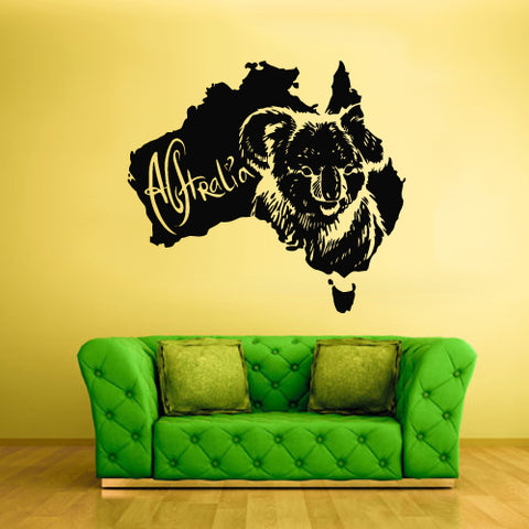 Wall Vinyl Decal Sticker Decals Decor Australia Animal Map Koala Bear ( z1717