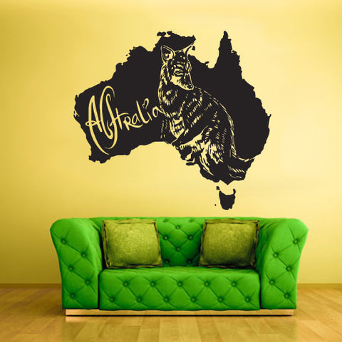 Wall Vinyl Decal Sticker Decals Decor Australia Animal Map Kangaroo ( z1718