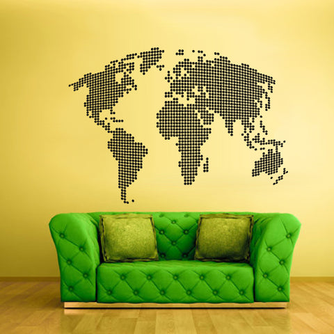 Wall Vinyl Decal Sticker Bedroom Decal World Map Country Words Quotes Dots  z1728