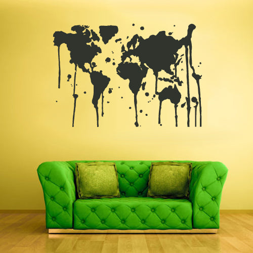 Wall Vinyl Decal Sticker Bedroom Decal World Map Country Words