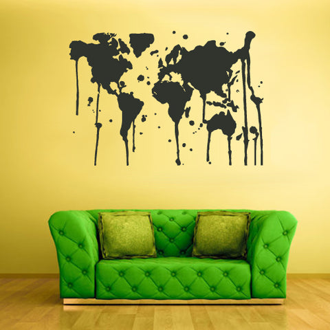 Wall Vinyl Decal Sticker Bedroom Decal World Map Country Words Quotes Paint  z1733