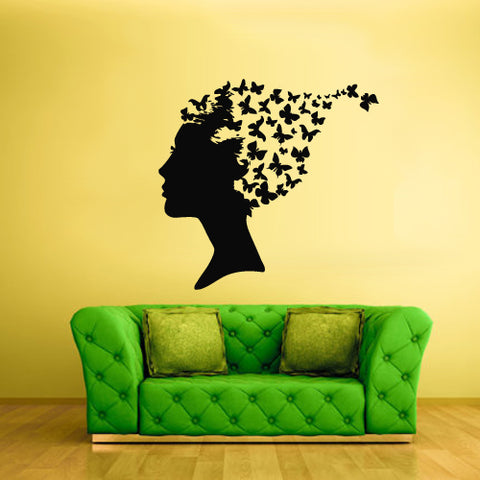 Wall Vinyl Decal Sticker Decals Decor Hair Fashion Girl Butterfly Fly  z1841