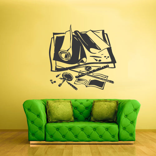 Wall Vinyl Decal Sticker Map Compass Glass Papers  z1848