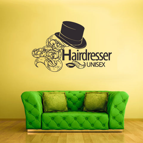 Wall Vinyl Decal Sticker Decal Haircut Salon Hairdresser Girl Unisex Hat  z1862