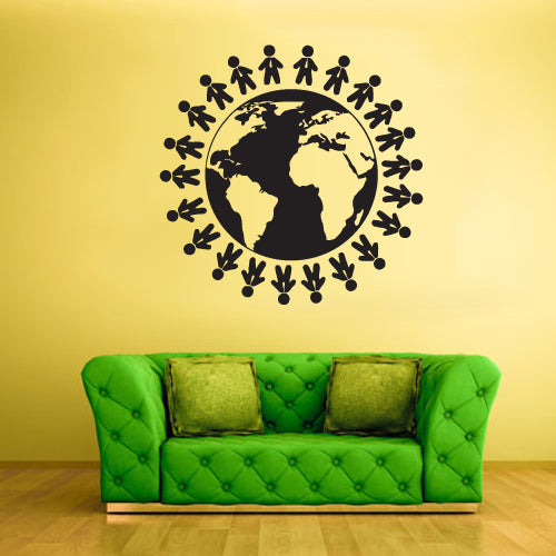 Wall Vinyl Decal Sticker Bedroom Decal World Map Globe Earth Peoples Country  z1871