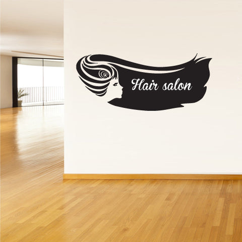 Wall Vinyl Decal Sticker Decals Haircut Salon Scissors Dryer Hair Girl Face  z1875