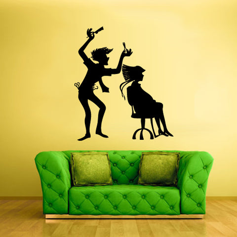 Wall Vinyl Decal Sticker Decals Haircut Scull Boy Salon Hair Style Stylist  z2001