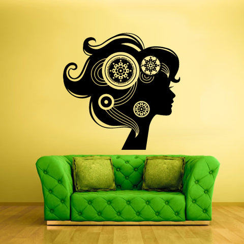 Wall Vinyl Decal Sticker Decal Haircut Salon Scissors Dryer Hair Girl Flowers  z2026