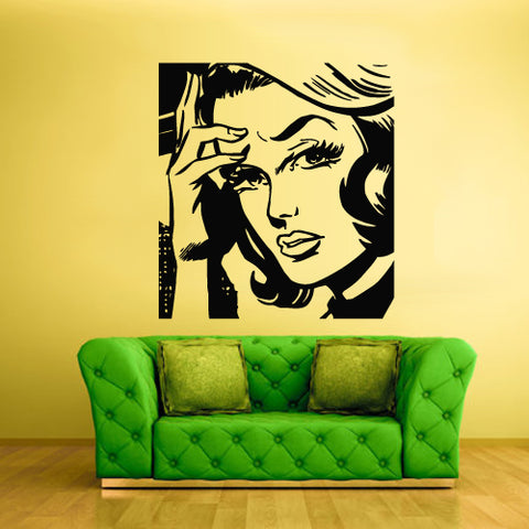 Wall Vinyl Decal Sticker Bedroom Decal Poster Fashion Girl Eye Comics Hair  z2152