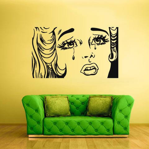 Wall Vinyl Decal Sticker Bedroom Decal Poster Fashion Girl Eye Comics Hair  z2153