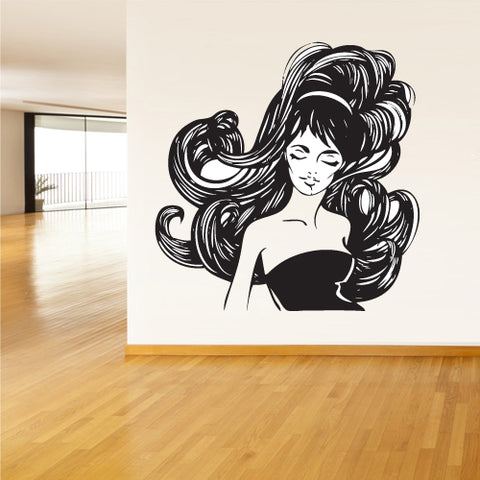 Wall Vinyl Decal Sticker Decals Haircut Salon Scissors Dryer Hair Girl Flowers  z2163