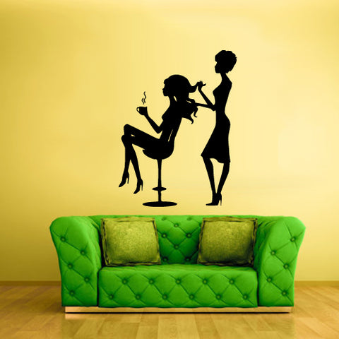 Wall Vinyl Decal Sticker Decals Haircut Scull Salon Hair Style Stylist Girls  z2184