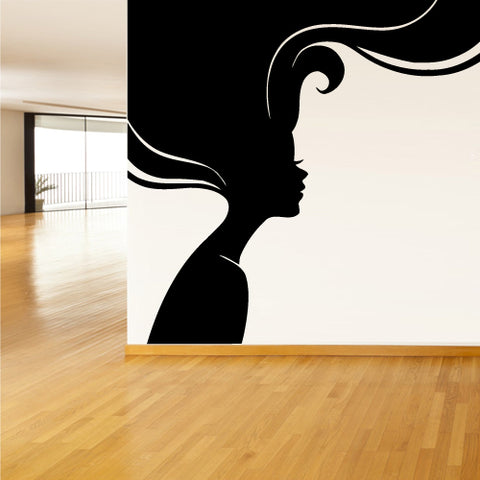 Wall Decal Sticker Girl Sexy Hairs Head Bedroom Decal Gift Salon  z2202
