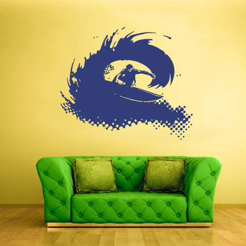 Wall Vinyl Decal Sticker Decal Surfer Surf Board Ocean Water Wave Sport Beach  z2355